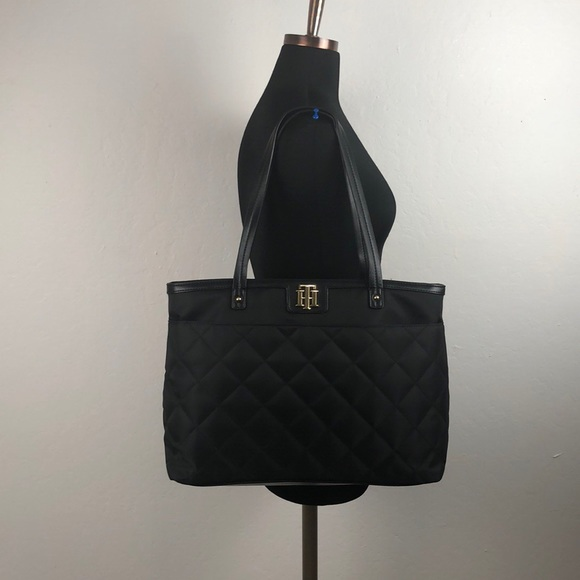 9209d44b2 Tommy Hilfiger Bags | Black Nylon Quilted Large Tote Bag | Poshmark